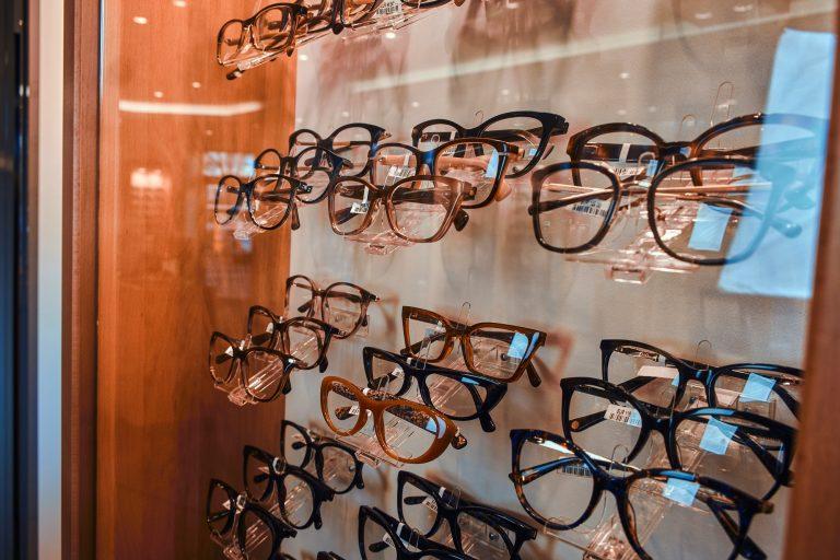 Modern frames on showcase at optic store